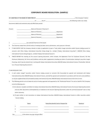 sample corporate board resolution agreement