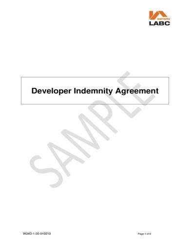 sample developer indemnification agreement