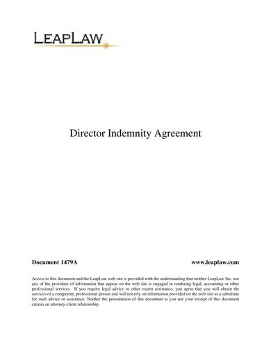 sample director indemnification agreement