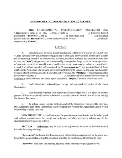 sample environmental indemnification agreement