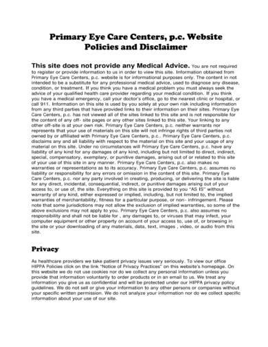 sample eye care and health disclaimer