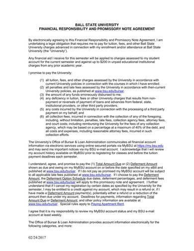 sample financial responsibility and promissory note agreement