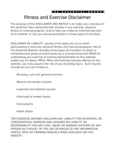 sample fitness and exercise disclaimer