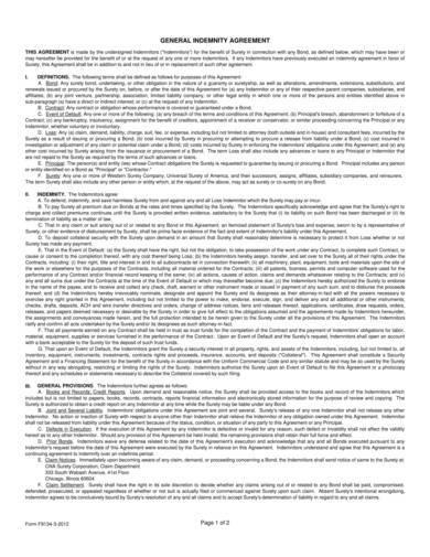 sample general indemnification agreement