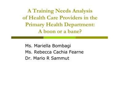 sample health care training analysis