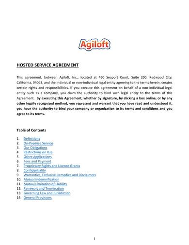 sample hosted service agreement