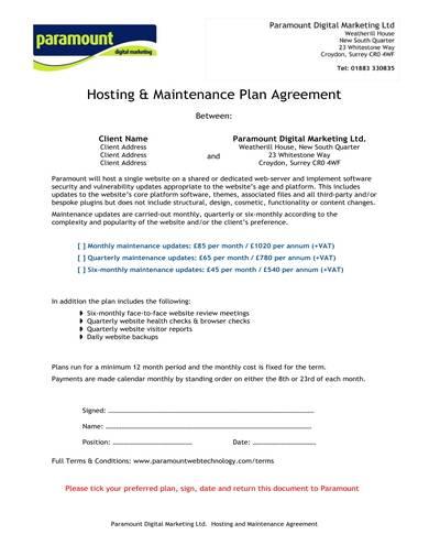 sample hosting and maintenance plan agreement