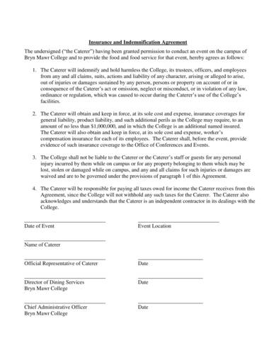 sample insurance and indemnification agreement
