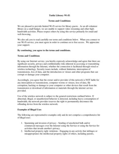 sample library wifi terms and conditions