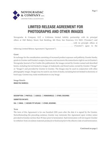 sample limited release agreement for photographs and other images