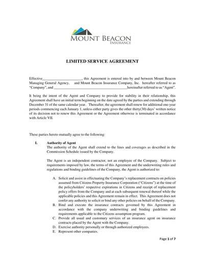 sample limited service agreement