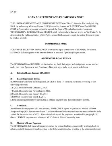 sample loan agreement and promissory note