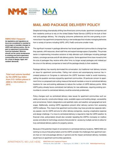 sample mail and package delivery policy