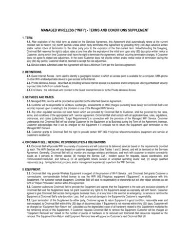 sample managed wifi terms and conditions supplement