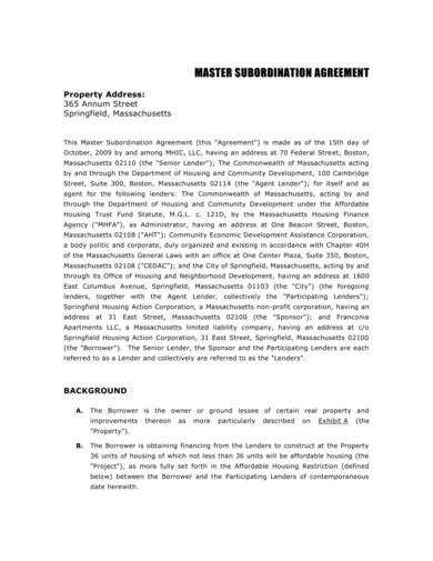 sample master subordination agreement