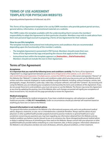 sample medical physician website terms of use agreement