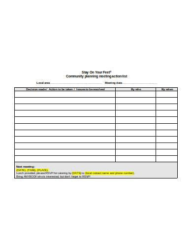 sample meeting action list template
