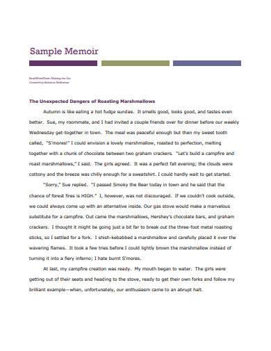 sample memoir template