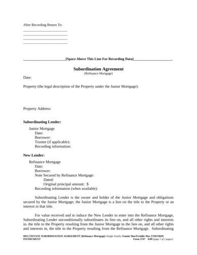 sample mortgage subordination agreement