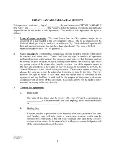 sample private hanger land lease agreement