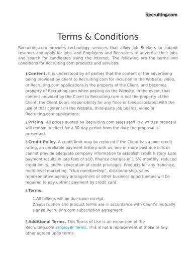 sample recruitment site terms and conditions