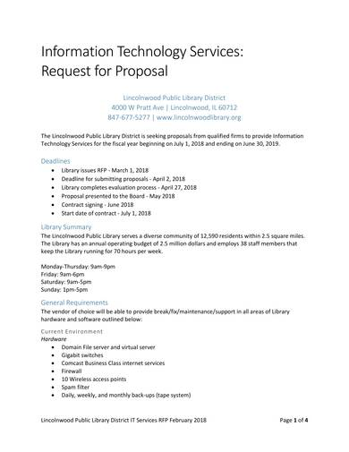 sample request proposal to provide it services in the library