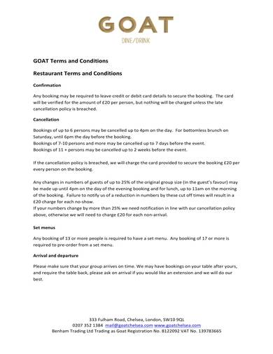 sample restaurant table booking terms and conditions