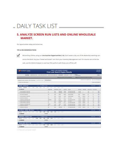 sample retail daily planner template