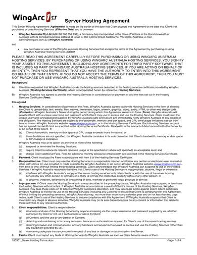 sample server hosting agreement
