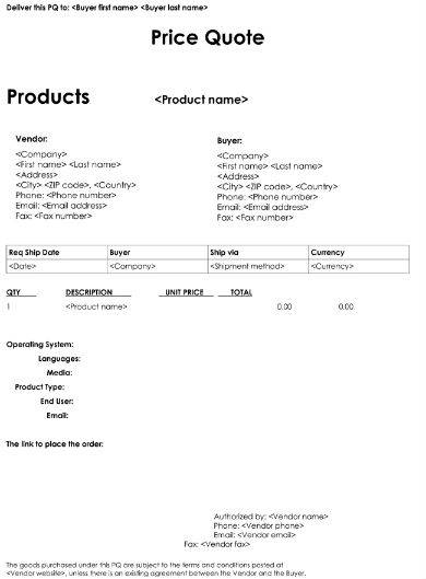 sample service price quotation template
