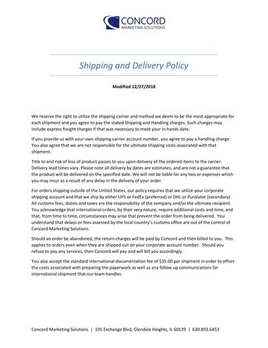 sample shipping and delivery policy