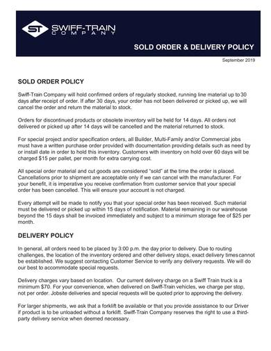 sample sold order delivery policy