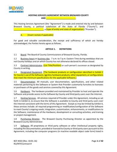 sample standard hosting services agreement