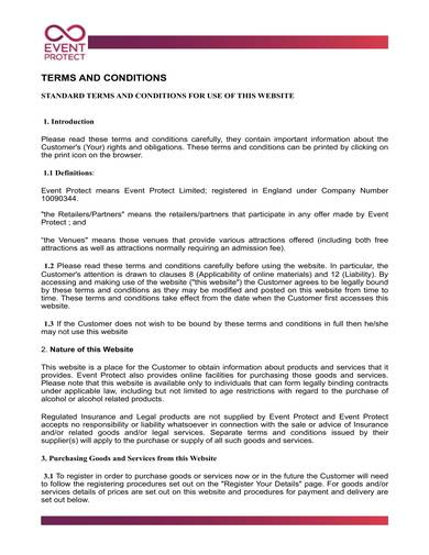 sample standard terms and conditions for website use