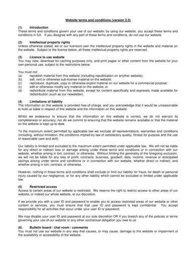 sample standard website terms and conditions
