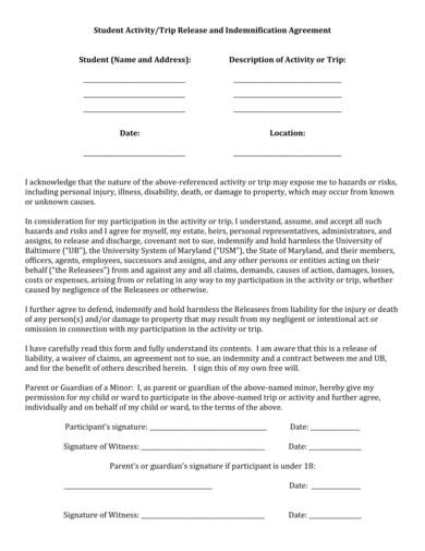 sample student trip release and indemnification agreement