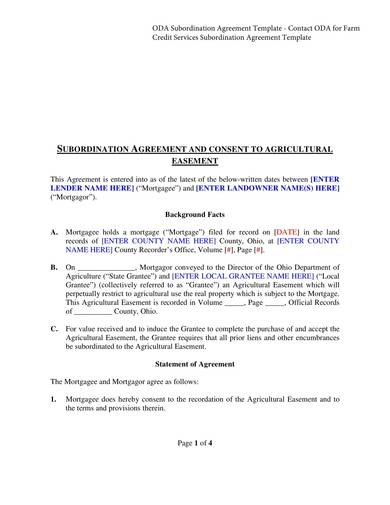 sample subordination agreement and consent to agricultural easement