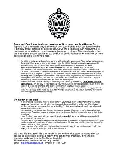 sample table booking terms and conditions for bars