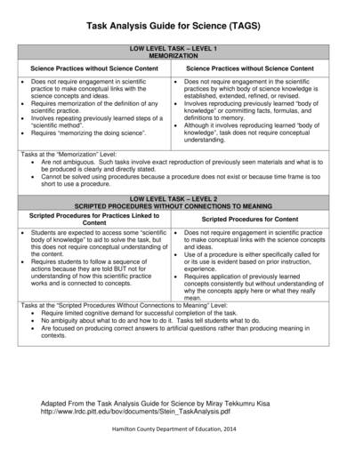 sample task analysis guide for science