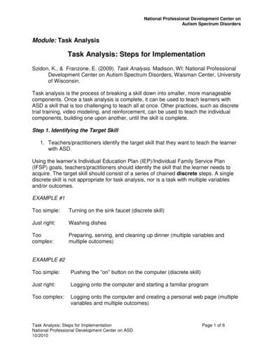 sample task analysis for autism spectrum disorder