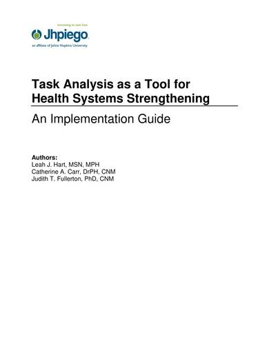sample task analysis for health systems
