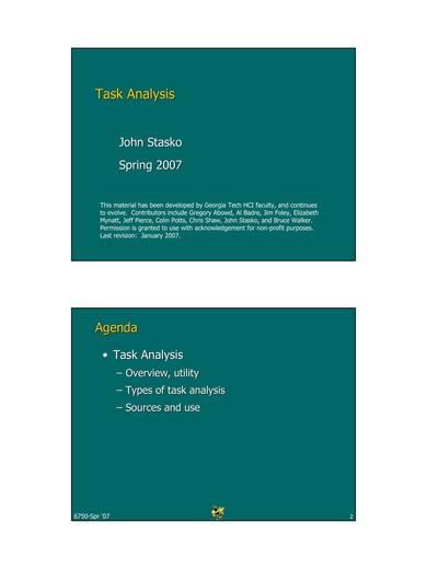 sample task analysis
