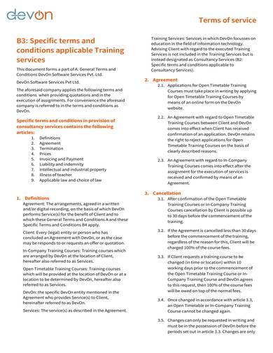 sample terms and conditions for training courses