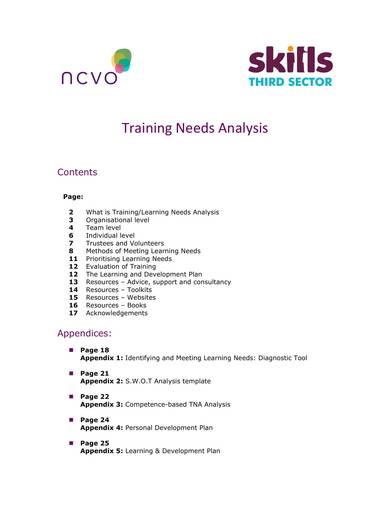 sample training needs analysis
