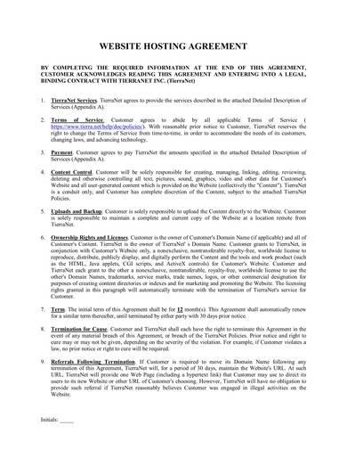 sample web hosting agreement