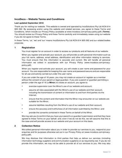 sample website policy terms and conditions