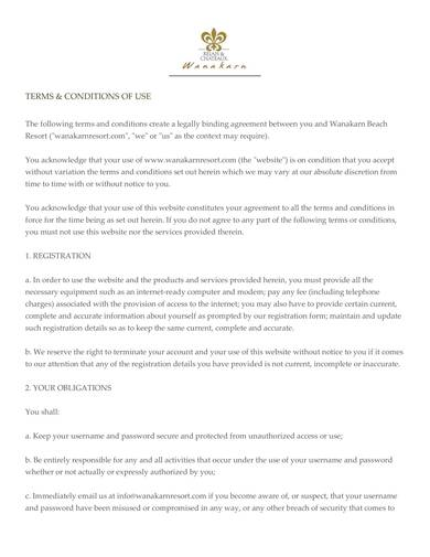 sample website terms and conditions of use