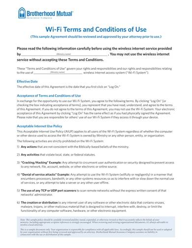 sample wifi terms and conditions