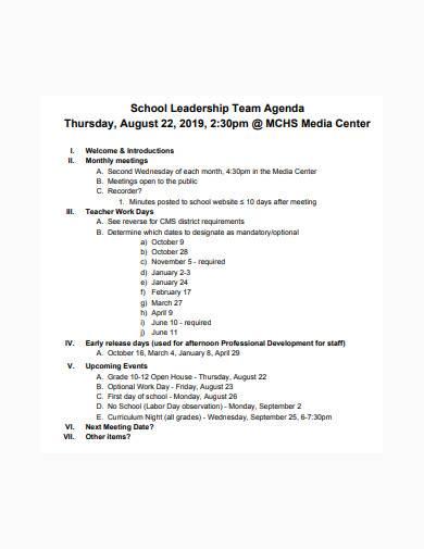 school leadership team agenda template