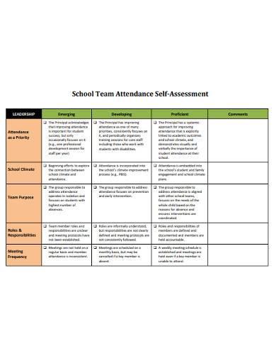 school team attendance self assessment
